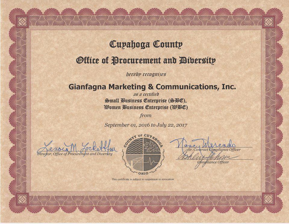 Gianfagna Recertified As Sbe Newly Certified As Wbe